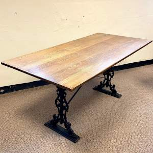 Rectangular Oak Top Dining Table with Cast Iron Base