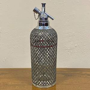 Large Vintage Art Deco Glass and Wire Mesh Soda Siphon