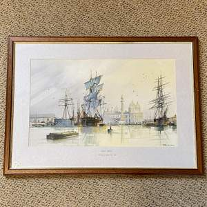 Peter Whittock Quiet Sunday Docks Watercolour Painting