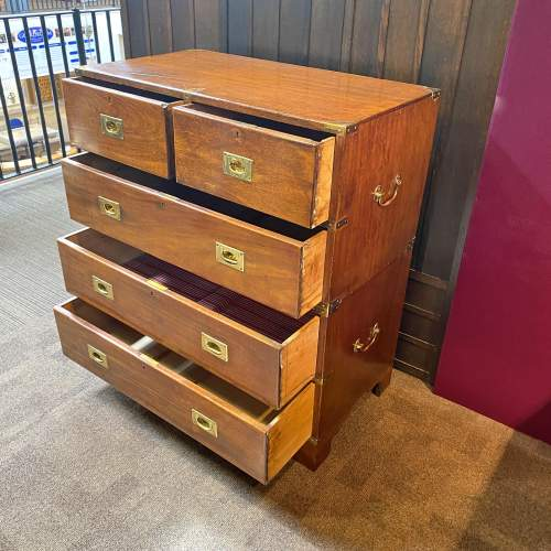 19th Century Mahogany Campaign Chest of Drawers image-2