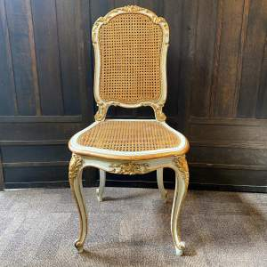 Louis XV Carved Painted and Parcel Gilt Salon Chair