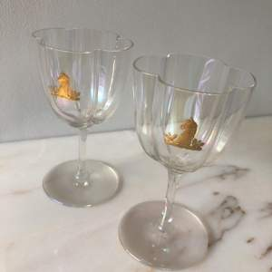 Pair of Lobmeyr Austria Glasses with Coat of Arms