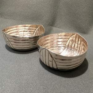 Pair of Unusual Silver Plated Bowls