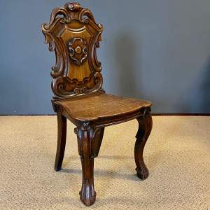 19th Century Carved Oak Hall Chair