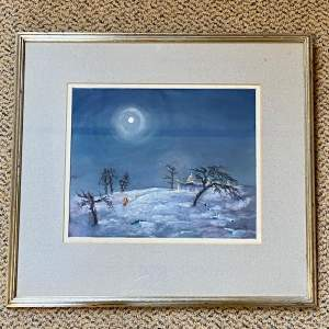 Early 20th Century Ena Limebeer Watercolour Snow Landscape