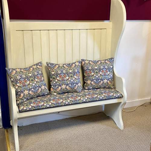 Vintage Painted Pitch Pine Bench image-1
