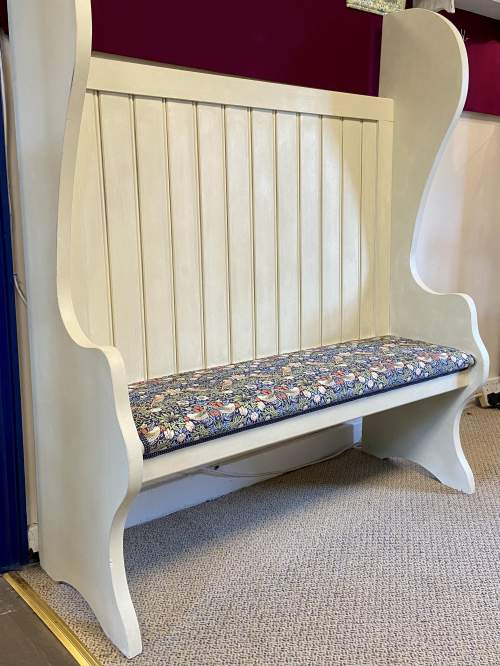 Vintage Painted Pitch Pine Bench image-5