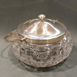 Victorian Cut Crystal EPNS Lidded Biscuit Barrel