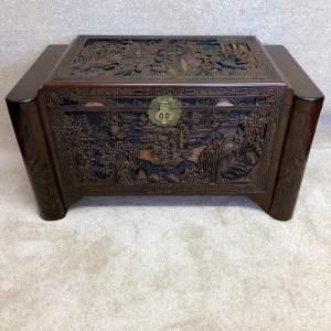 Antique Carved Camphor Wood Blanket Box