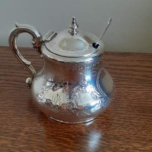 Victorian Sterling Silver Mustard Pot With Liner and Spoon London 1867