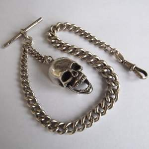 Silver 1921 Albert Watch Chain and Hallmarked Cast Silver Skull Fob