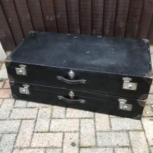 A Pair of 1920s Leather Travelling Cases designed to fit a Vintage Car