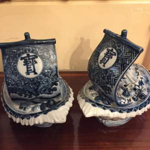 A Pair Of Chinese Blue and White Boat Shaped Tureens