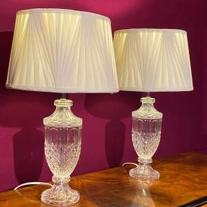 Decorative Pair of Glass Table Lamps