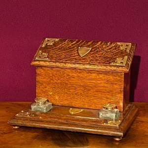 Victorian Oak Desk Tidy Letter Rack