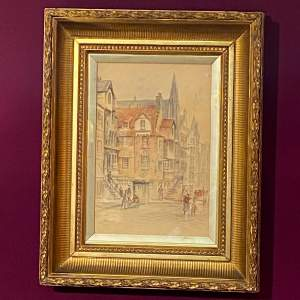 Victorian Street Scene Watercolour Painting