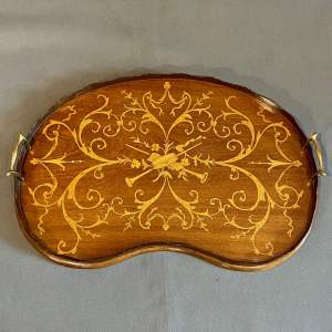 Edwardian Marquetry Kidney Shape Tray