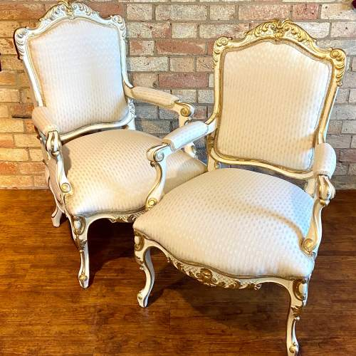 Pair of French Fauteuils Arm Chairs image-1