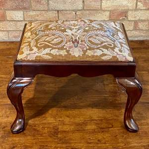 Early 20th Century Mahogany Stool with Mythical Dragon Embroidered Seat