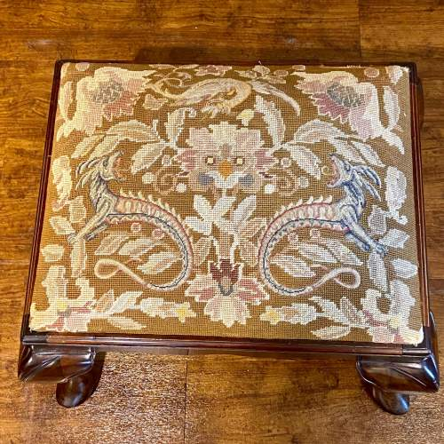 Early 20th Century Mahogany Stool with Mythical Dragon Embroidered Seat image-3
