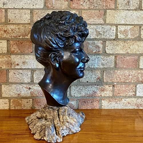 Large Cast Bronze Bust of an Edwardian Lady image-5