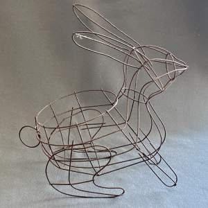 Vintage Wire Basket Rabbit Plant Pot or Wine Bottle Holder