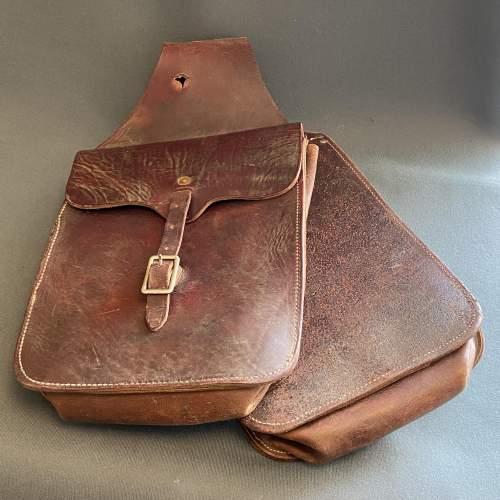 Vintage American Burgundy Leather Saddle Bags image-1