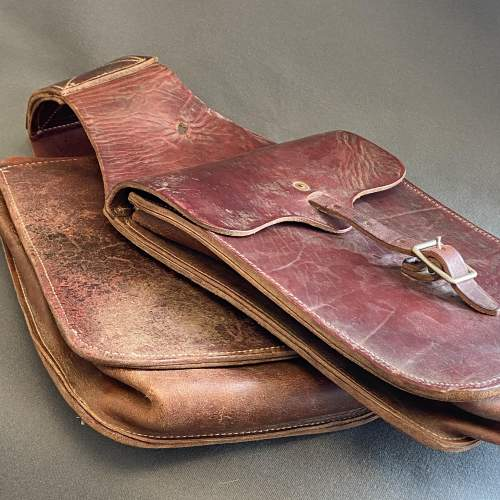 Vintage American Burgundy Leather Saddle Bags image-4