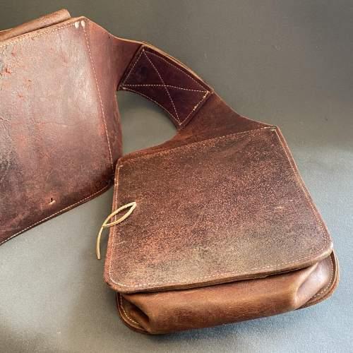 Vintage American Burgundy Leather Saddle Bags image-3