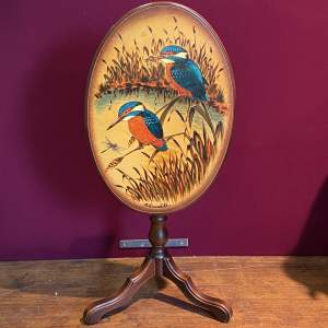 Small Tilt Top Occasional Table with Handpainted Kingfishers
