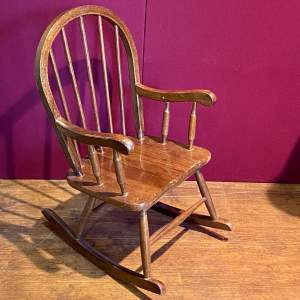 Traditionally Carved Childs Wooden Rocking Chair