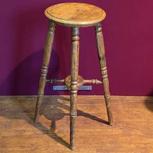 Vintage Tall Oak Standing Stool
