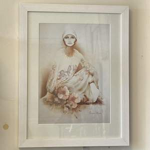 1970s Original Framed Sara Moon Print of a Lady in a Dress
