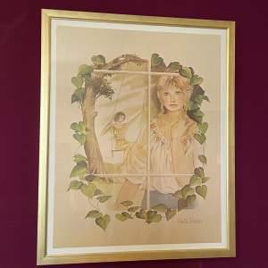 1970s Original Gloria Eriksen Print of a Lady on a Swing