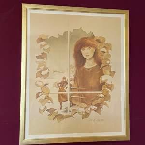 1970s Original Gloria Eriksen Print of a Lady in a Winter Scene