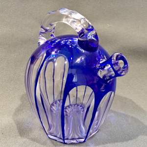 Bohemian Blue Glass Overlay Spirit Decanter