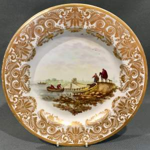 Early 19th Century Derby Plate View Near Amsterdam Holland