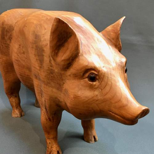 Early 20th Century Rare Solid Pine Pig Statue image-2
