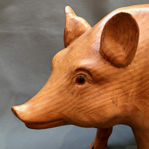 Early 20th Century Rare Solid Pine Pig Statue image-3