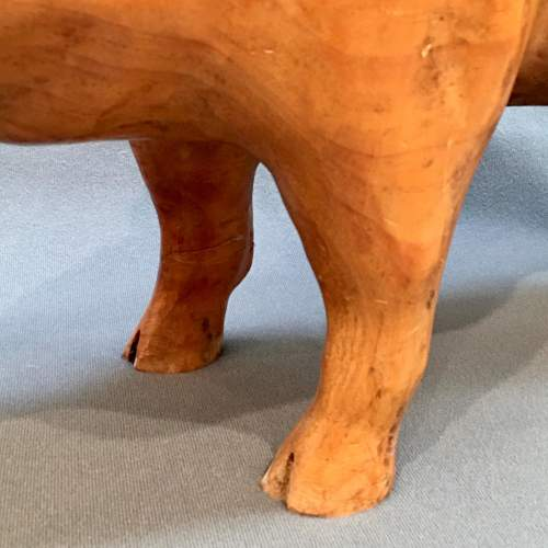 Early 20th Century Rare Solid Pine Pig Statue image-5