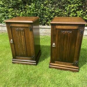 Two Bedside Cupboards with Linen Fold Panelled Doors
