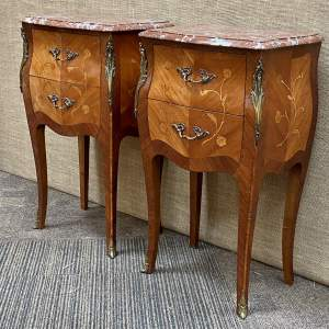Pair of 19th Century French Marble Top Kingwood Bedside Tables