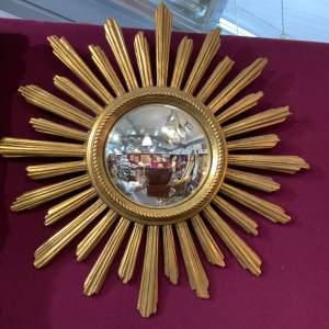 French Belgian Sunburst Mirror With Convex Glass