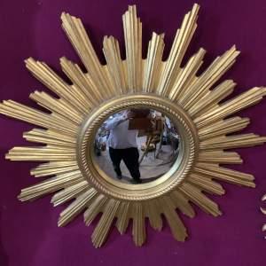 Stunning Belgian Sunburst Mirror With Convex Glass