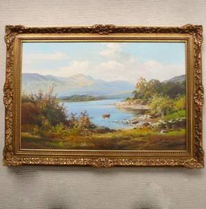 Original Oil Painting of Summer Fishing on Loch Lomond by W.McGregor