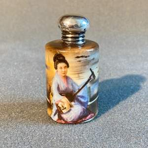 Early 20th Century Silver Top Painted Geisha Scent Bottle