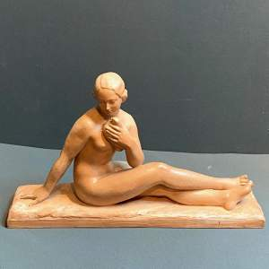 Large Art Deco Terracotta Figure of a Seated Woman