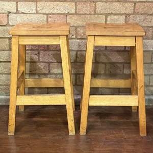 Set of Four  Vintage Beech Stools