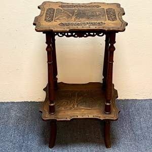 Oriental Carved Two Tier Table