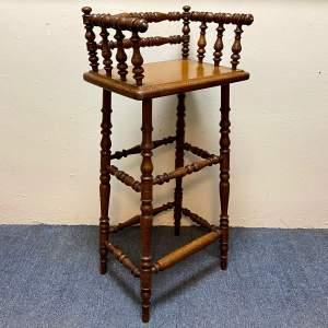 Victorian Turned Wooden Stool or Tall Stand
